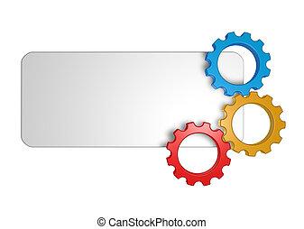 gear wheel banner - blank sign and gear wheels - 3d...
