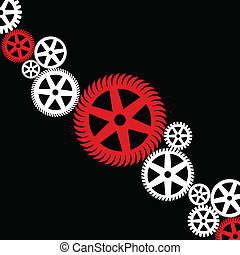 Gear wheel - Background from white and red a gear wheel. A...