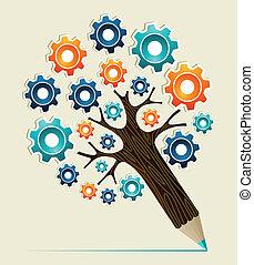 Gear wheel concept pencil tree - Cog wheel colorful concept...