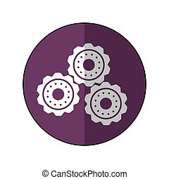 gear wheel engine cog icon purple shadow