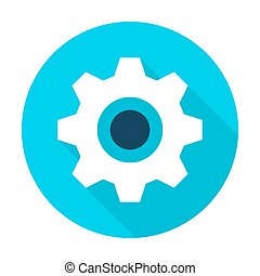 Gear Wheel Flat Circle Icon