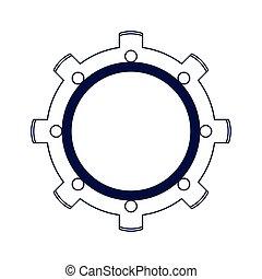 gear wheel icon, flat design