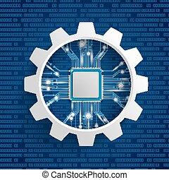 Gear Wheel Microchip Lights Blue Background
