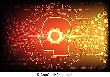 Gear wheel transform through human head silhouetted on gold...