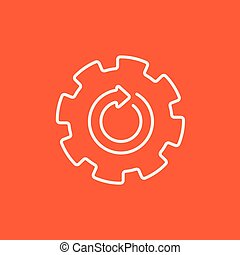 Gear wheel with arrow line icon.