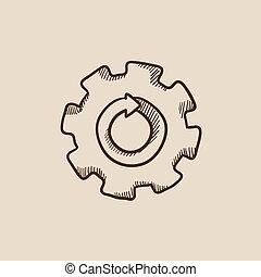 Gear wheel with arrow sketch icon.