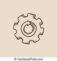 Gear wheel with arrow sketch icon.
