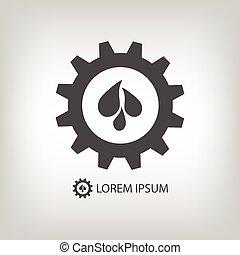Gear wheel with water drops as logo. Plumbing or engineering...