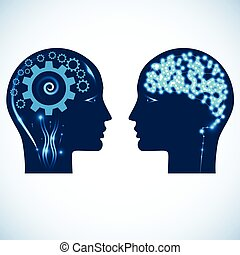 Gear wheels and a shone brain, concept rational and creative thinking heads of two people