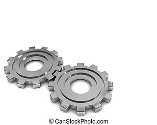 gear wheels background - 3d illustration of two gear wheels...