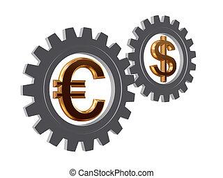 gear-wheels, dólar, euro