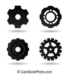 Gear wheels icons set