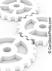 Illustration of white gear wheels over white background