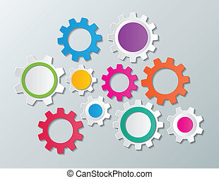 gear wheels - colorful paper gear wheels infographic...