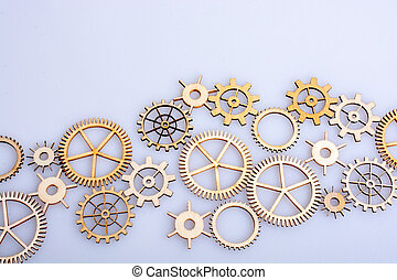 Gear wheels on white background as concept of engineering