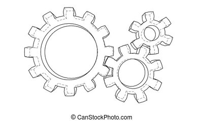 Gear wheels rotating. Seamless loop. 3d illustration video