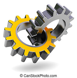 gear wheels - 3d illustration of two gear wheels over white...
