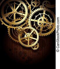 Gear wheels - Vector background with golden gear wheels on...