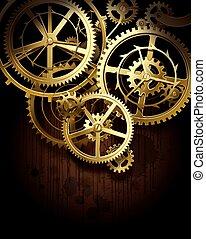 Gear wheels - Vector background with golden gear wheels on...