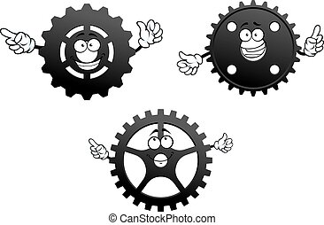 Gear wheels with funny faces and hands
