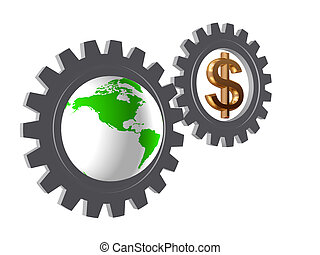 gear-wheels with world globe and dollar - two 3d gear-wheels...