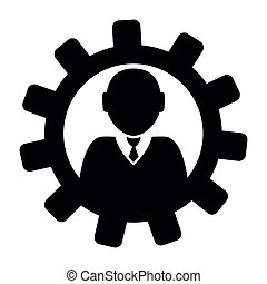 Gear with a businessman icon