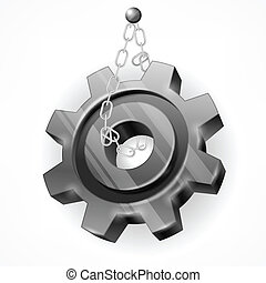 Gear with chain on white