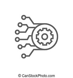 Gear with circuit board, artificial intelligence line icon.