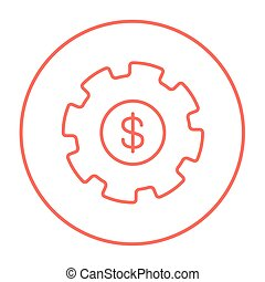 Gear with dollar sign line icon.