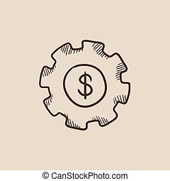Gear with dollar sign sketch icon.