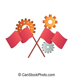gear with flag isolated icon vector illustration design
