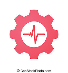 Gear with icon - Illustration of an isolated gear with an...