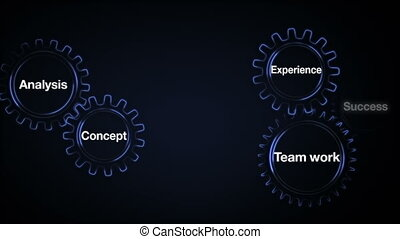 Gear with keyword, Analysis, Team work, Experience, Concept, Success, Businessman touch screen 'BUSINESS PLAN'