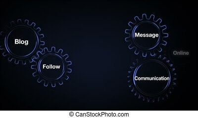 Gear with keyword, Blog, Follow, Communication, Message,...