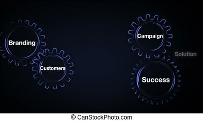 Gear with keyword, Branding, Solution,Customers, Campaign, Success. Businessman touch screen 'Marketing Strategy'