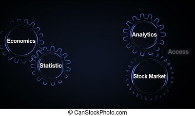 Gear with keyword, Economics, Statistic, Stock Market,...