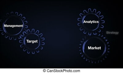 Gear with keyword, Market, Analytics, Strategy, Target,...