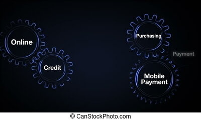 Gear with keyword, Online, Credit, , Purchasing, Mobile payment. Businessman touch screen 'E-COMMERCE'