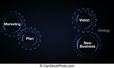 Gear with keyword, Plan, marketing, vision, strategy, new business, Businessman touch screen 'BUSINESS'