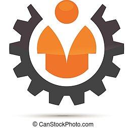 gear with man logo concept