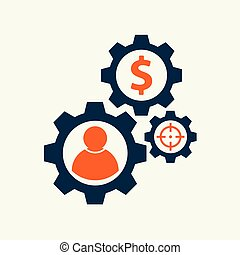 gear with user people sign vector illustration. vector icon