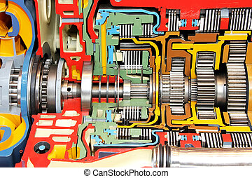 Gearbox color - Open gearbox colorful housing of big truck