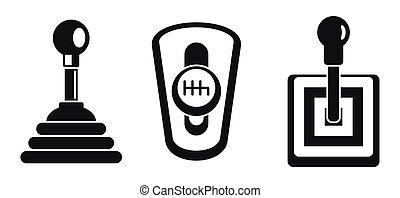 gearbox, manual, jogo, simples, estilo, ícone