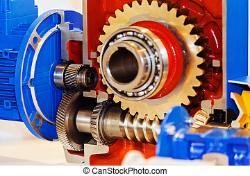 Gearbox on large electric motor at industrial equipment plant