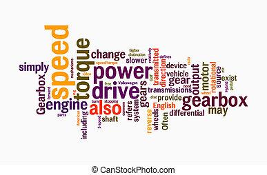 gearbox, palavra, nuvens