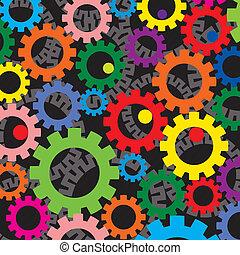 gears, красочный