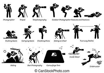 gears., カメラマン, 写真撮影, 屋外