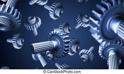Gears - 3D gears falling down on blue background