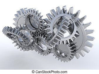 Gears - 3D render of interlocking gears