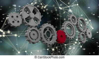 Digitally generated animation of gears and cogs being connected by a red gear while background shows glowing connected asymmetrical lines